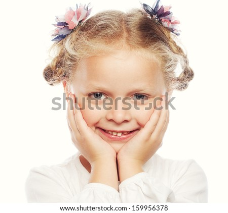 Beautiful smiling girl isolated over white  - stock photo