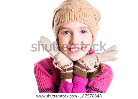 Beautiful smiling girl on the white background - stock photo