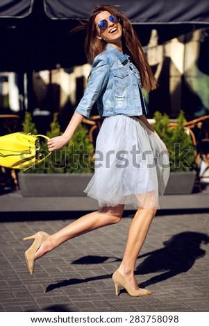 Beautiful smiling girl with long hair, walk. - stock photo
