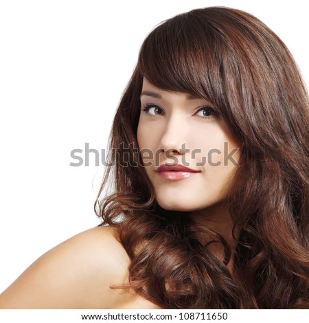 beautiful smiling girl with perfect brown hair. Isolated on white background