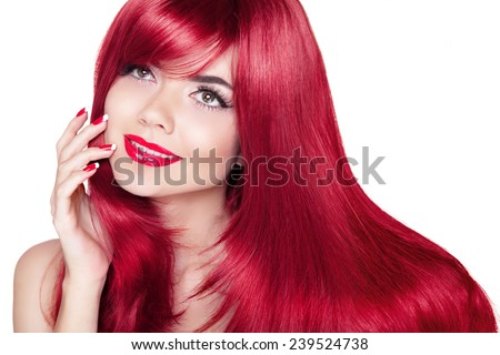 Beautiful smiling girl with red hair. Long straight hairs Shine with health. Attractive model isolated  on white background - stock photo