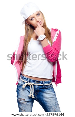 Beautiful smiling hip hop dancer posing in studio isolated on white. - stock photo