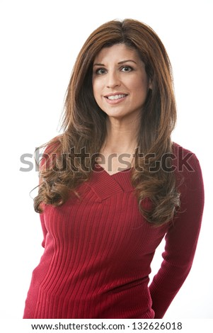 Beautiful smiling hispanic woman in her forties - stock photo