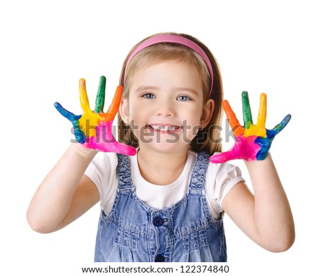 Beautiful smiling little girl with hands in the paint isolated on white - stock photo