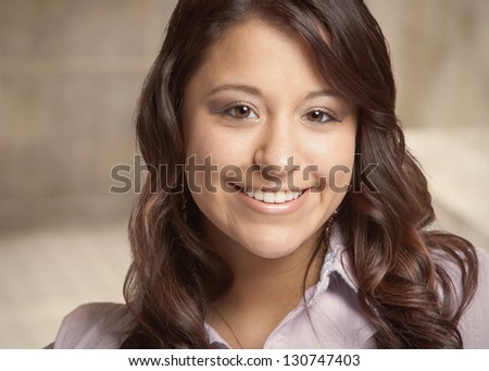 Beautiful smiling mixed race young woman closeup