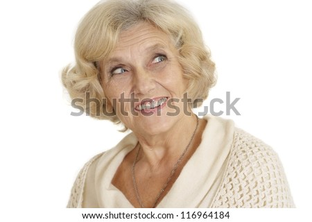 beautiful smiling nice elderly woman on a white background