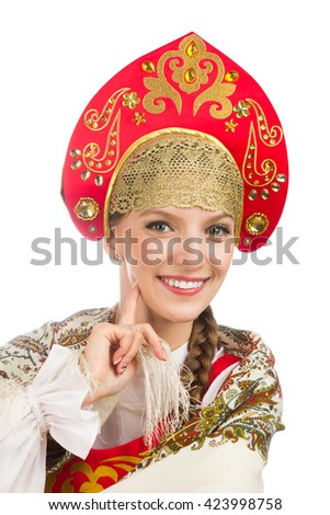 beautiful  smiling russian girl in folk costume isolated on white - stock photo