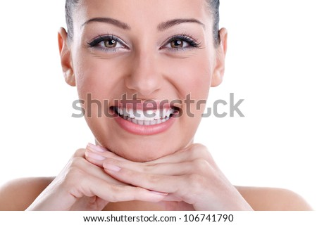 Beautiful smiling with healthy perfect teeth - stock photo