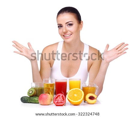 Beautiful smiling woman, gesture and diet concept - happy woman with healthy food showing thumbs up over on an isolated white background. - stock photo