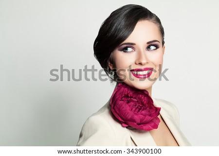 Beautiful Smiling Woman. Happy Fashion Model - stock photo