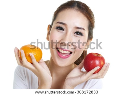 Beautiful smiling woman having a healthy breakfast