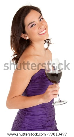 Beautiful Smiling Woman Holding a Glass of Wine