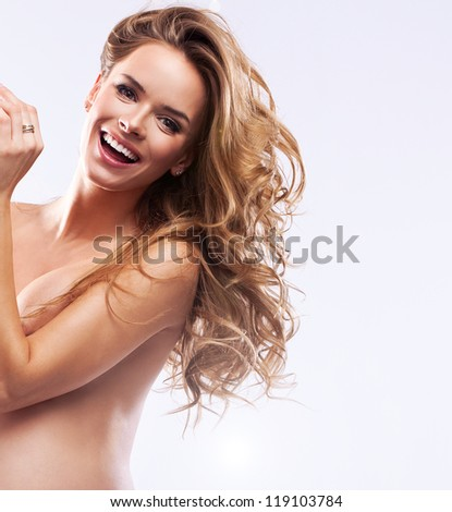 Beautiful smiling woman in pregnant - stock photo