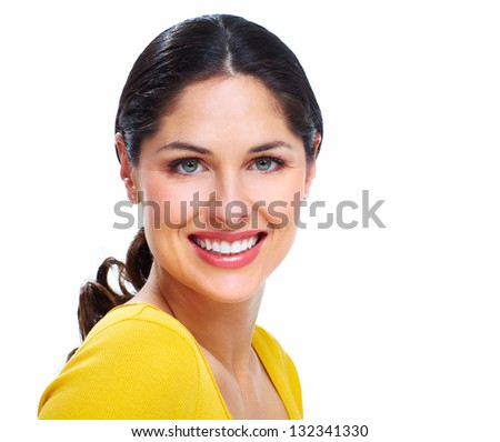 Beautiful smiling woman isolated on white background. - stock photo