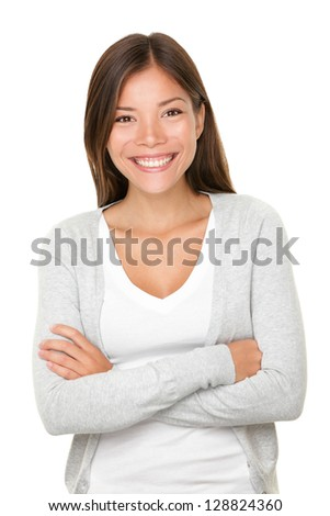 Beautiful smiling woman. Upper body portrait of a beautiful vivacious young woman of mixed Asian Caucasian descent with a beaming smile isolated on white - stock photo