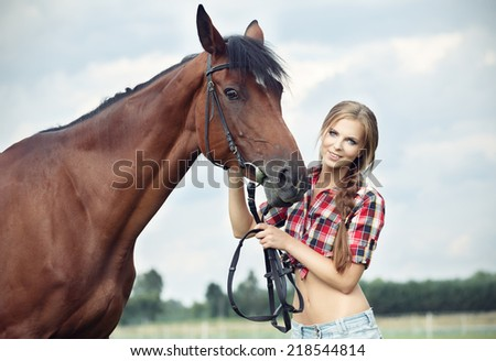 Beautiful smiling woman with horse chestnut