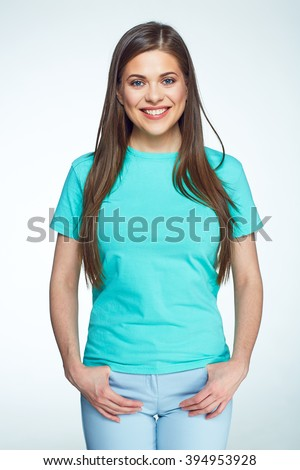 Beautiful smiling woman with long hair casual dressed posing on white background. - stock photo