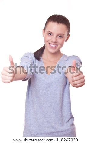 beautiful smiling woman with thumbs up on two hand. sign good, OK - stock photo