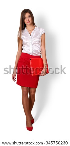Beautiful smiling young brunette businesswoman with long hair holding red document folder standing full length isolated on white background with shadow. Business success, education, banker concept - stock photo