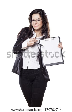beautiful smiling young business woman posing with a clipboard in her hand
