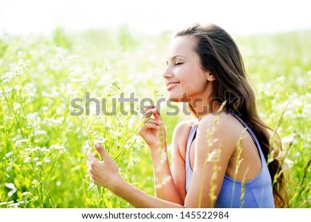 beautiful smiling young woman - stock photo