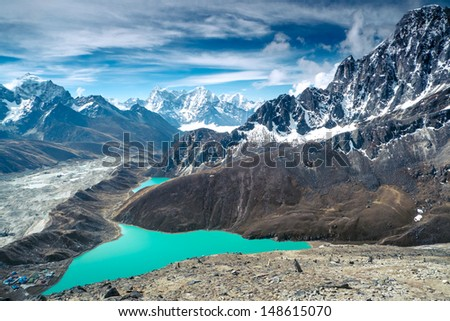 Beautiful snow-capped mountains  - stock photo