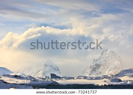 Beautiful snow-capped mountains in Antarctica - stock photo