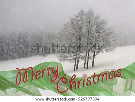 Beautiful snow landscape Christmas card image - suitable for card, postcard or background