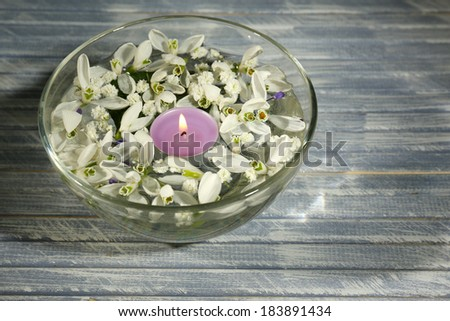 Beautiful snowdrops and candle in glass bowl with water, on wooden background - stock photo