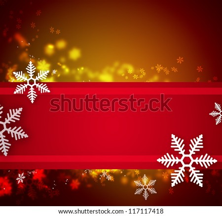 Beautiful snowflake Christmas background with ribbon and copyspace - stock photo