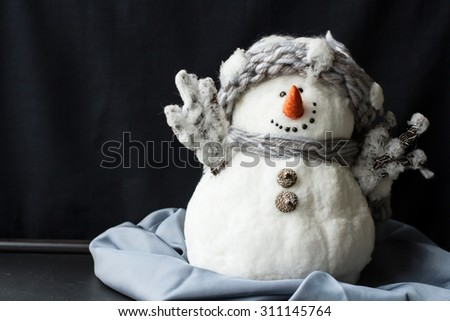 beautiful snowman. decorations for Christmas and greeting cards - stock photo