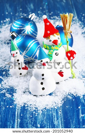 Beautiful snowmen and Christmas decor, on bright background