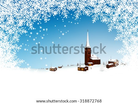 Beautiful Snowy Mountain Village with Azur Blue Sky and Abstract Filigree Snowflake Frame - Winter Greeting Card Template. - stock photo