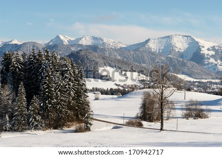 beautiful snowy winter landscape at Christmas time...