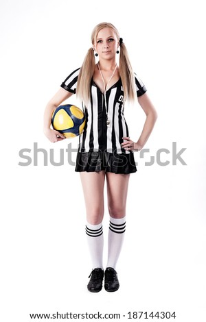 Beautiful Soccer Referee with ball at white background - stock photo
