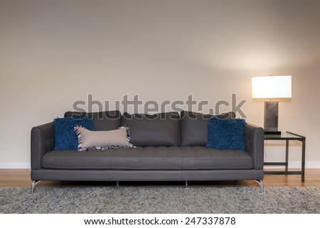 Beautiful sofa in grey with light stand, with ornamented blue pillows in contemporary setting in sumptuous style home. - stock photo
