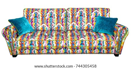 Beautiful Sofa With A Colorful Floral Pattern With Embroidery In Boho Style