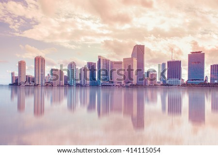 Beautiful soft pastel toned Miami Florida skyline with reflections