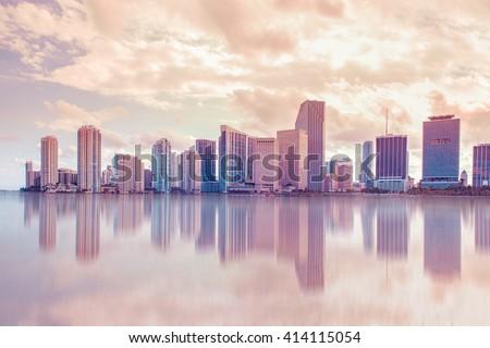Beautiful soft pastel toned Miami Florida skyline with reflections - stock photo