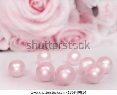 Beautiful soft  pink rose with pearls