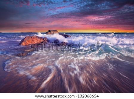 Beautiful South Australian Sunset - Yorke Peninsula - stock photo