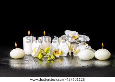 beautiful spa background of blooming white orchid flower, phalaenopsis with drops and candles is isolated on black  - stock photo