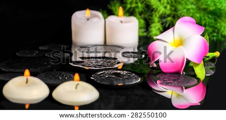 beautiful spa background of plumeria flower, green branch Asparagus with drops and candles on zen basalt stones in reflection water - stock photo