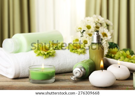 Beautiful spa composition on fabric background - stock photo
