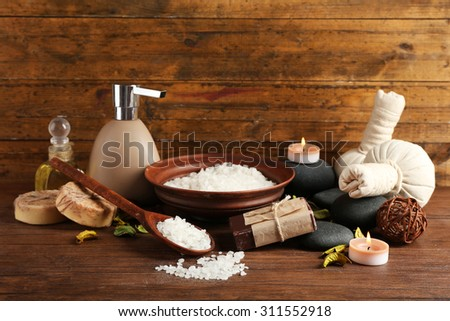 Beautiful spa composition on table close up - stock photo