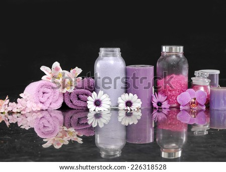 Beautiful spa concept-black background - stock photo