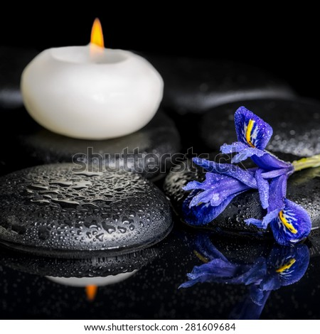beautiful spa concept of blooming iris flower, candles and black zen stones on reflection water, macro - stock photo