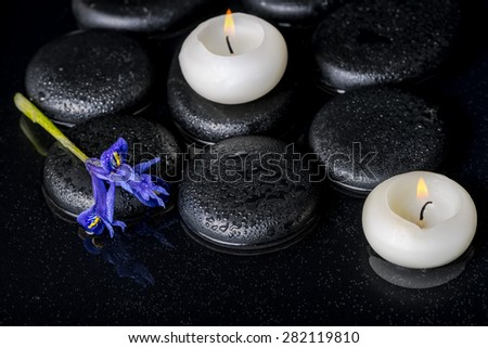 beautiful spa concept of blooming iris flower, candles and black zen stones on water, closeup  - stock photo