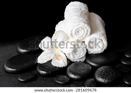 beautiful spa concept of white hibiscus flower and towels on zen basalt stone with dew, closeup - stock photo