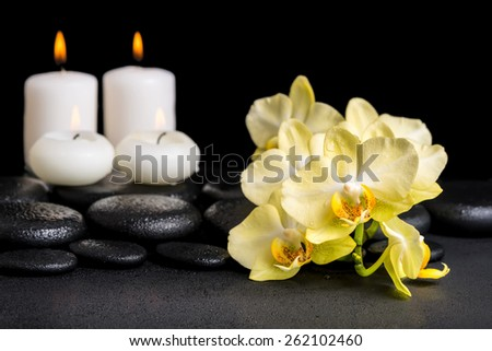 beautiful spa concept of yellow orchid phalaenopsis and candles on black zen stones with drops - stock photo